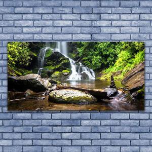 Glasbilder Wandbild Druck auf Glas 125x50 Wald See Steine Natur