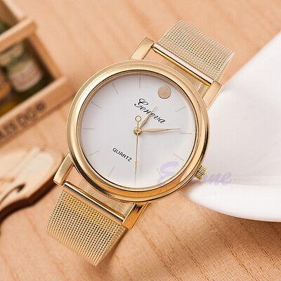 Fashion Women Classic Geneva Gold Stainless Steel Quartz Wrist Watch Golden Dot