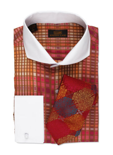 DW544-FU Red Dress Shirt Only by Steven Land Classic FitFrench Cuff