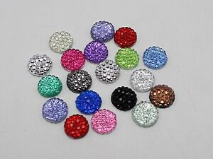 "200 Mixed Color Resin Round Flatback Dotted Rhinestone Gems 8mm(0.31"")"