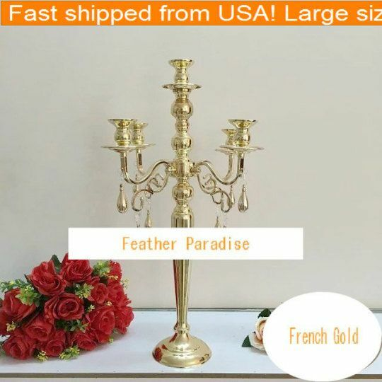 24 24 24 inches Gold 5 Arm Metal Candelabra Wedding Centerpiece Floral Stand (From GA) 853f44