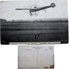 cpa Quinzaine aviation Stockel Woluwe-St-Pierre 1910 essai passager monoplan