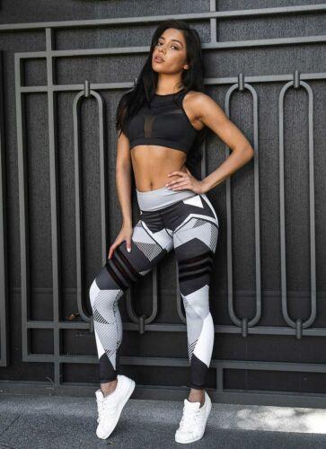 Women/'s High Waist Yoga Pants Pocket Fitness Sports Capri Leggings Plus Size SC