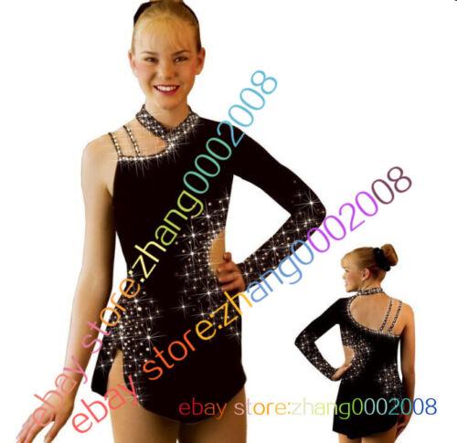 Ice skating dress.black Competition Figure Skating dress.Baton Twirling Costume