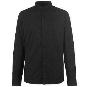 Firetrap-Para-Hombre-Abuelo-Camisa-De-Cuello-T-Informales-Mangas-Largas-Camiseta-Top-De-Algodon-Slim