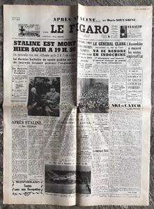 N133-La-Une-Du-Journal-Le-Figaro-6-Mars-1953