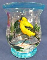 Yellow Bird Votive Candle Holder Hand Painted Crackle Glass Home Decor (a)