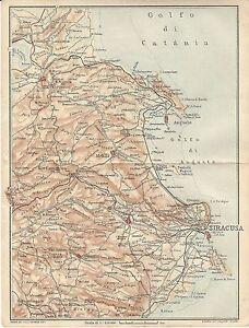 Cartina Sicilia Antica.Carta Geografica Antica Sicilia Orientale Siracusa Tci 1919 Old Antique Map Ebay