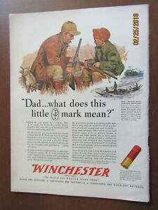 VTG-1943-Orig-Magazine-Ad-Winchester-Bullets-Dad-What-Does-This-Little-Mark-Mean