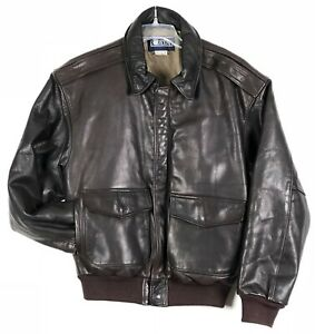 Vintage-Lands-End-Leather-Bomber-Jacket-Mens-M-Brown-Thinsulate-Made-In-USA