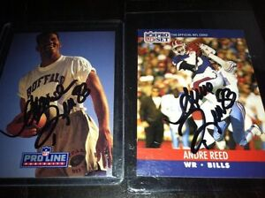 Andre-Reed-Buffalo-Bills-WR-HOFer-NFL-football-card-auto-autograph-LOT-X2-signed
