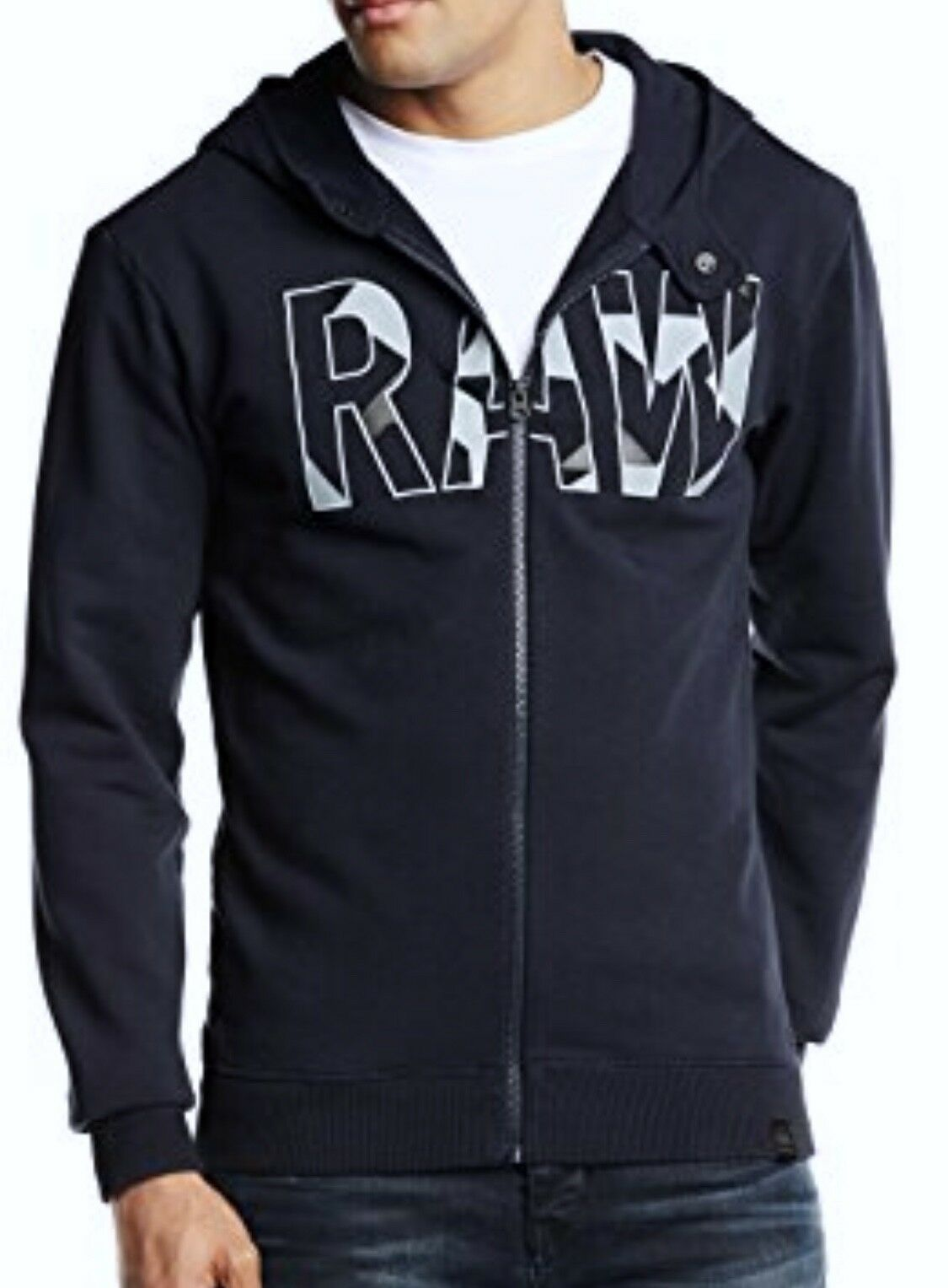 G STAR RAW Moiric Hooded Vest Mazarine Blau Fleece Full Zip Hoodie  Herren Sz 2XL