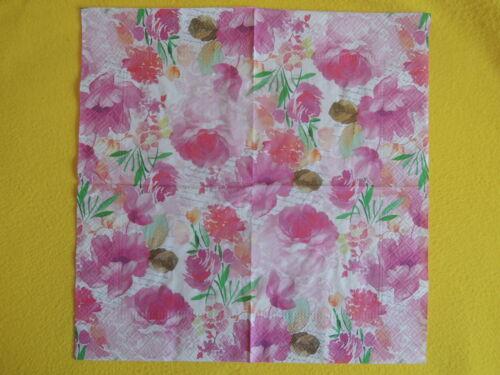 20 Serviettes soupirer Fleurs 1 boîte neuf dans sa boîte police Rosa Romantic Diary Paw