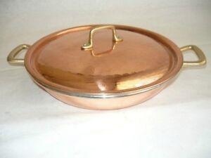 CASSEROLE-casserole-2-manches-Cuivre-etame-de-cuisine-30cm