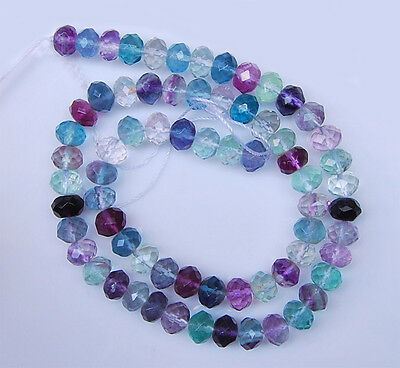 """ss0032 8mm AAA Faceted multi-color fluorite rondelle loose gemstone beads 16"""""""