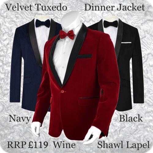Mens Velvet Tuxedo Dinner Jacket Blazer Bordeaux Wine Maroon Shawl Lapel Party