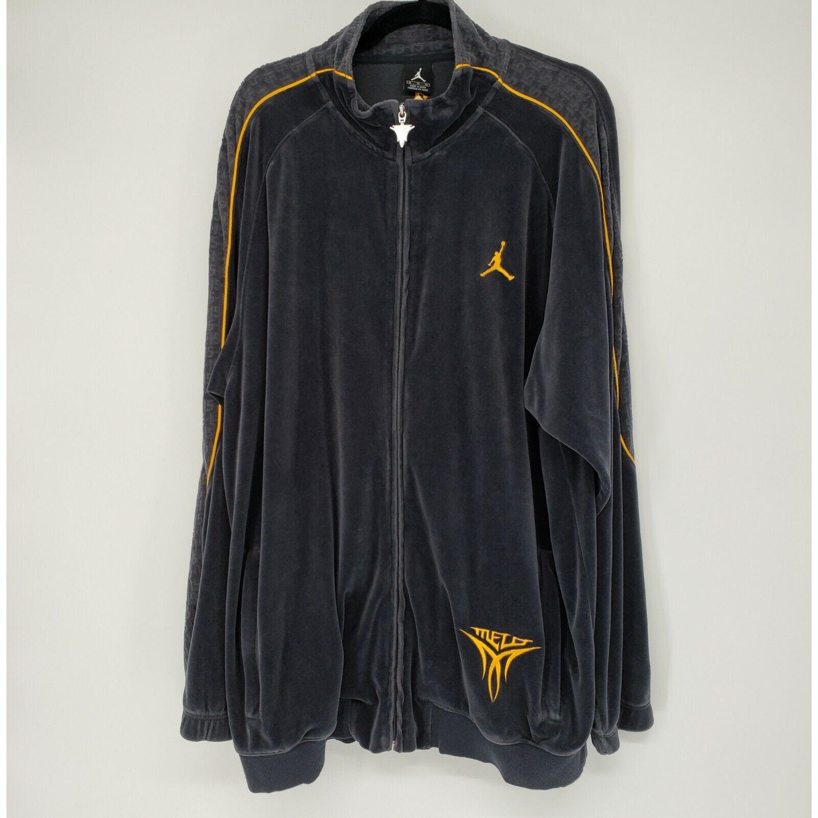 Carmelo Anthony Jordan Men's Sz XL Velvet Track Jacket Zip Embroidered Gray Gold