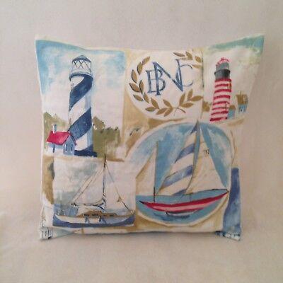 Cushion Cover in Maritime Regatta Boats Lighthouse BeachHuts Bunting Nautical
