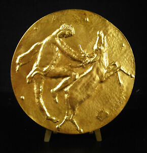 Medal 5 7/8in Hercules Deer Of Cérynie le Lion Of Nemea 1972 Mythology R Joly