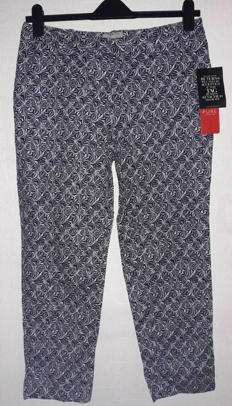 Pure Collection Navy Tile Print Capri Trousers Size rrp  DH182 LL 11
