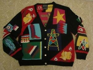 73dc0267a0356 BEREK MARTA D VINTAGE 80s 1989 TEXAS THEME KNITTED BY HAND SWEATER ...