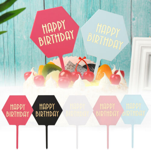 1PC Hexagon Happy Birthday Acrylic Cake Topper Gold Foil Letters Cupcake Topper.
