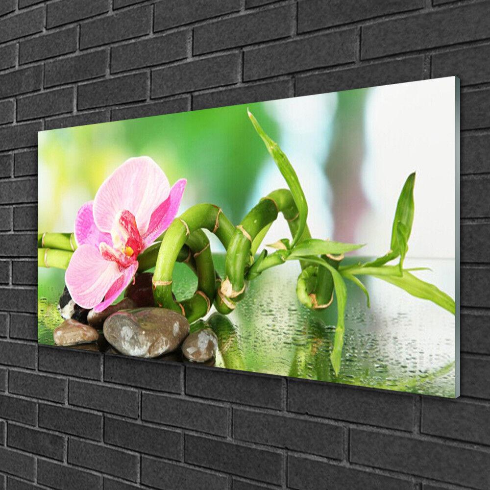 Tableau sur verre Image Impression 100x50 Nature Pierres Fleurs Bambou