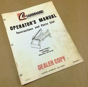 farmhand f235 a farm loader operators owners manual instructions rh ebay com John Deere Operator Manual MotorGuide Tour Manual