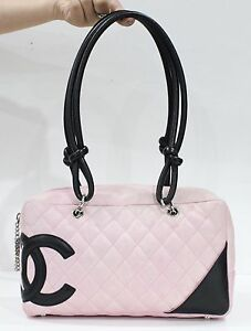 Used Authentic Chanel Cambon Pink Bowler Bag 1216