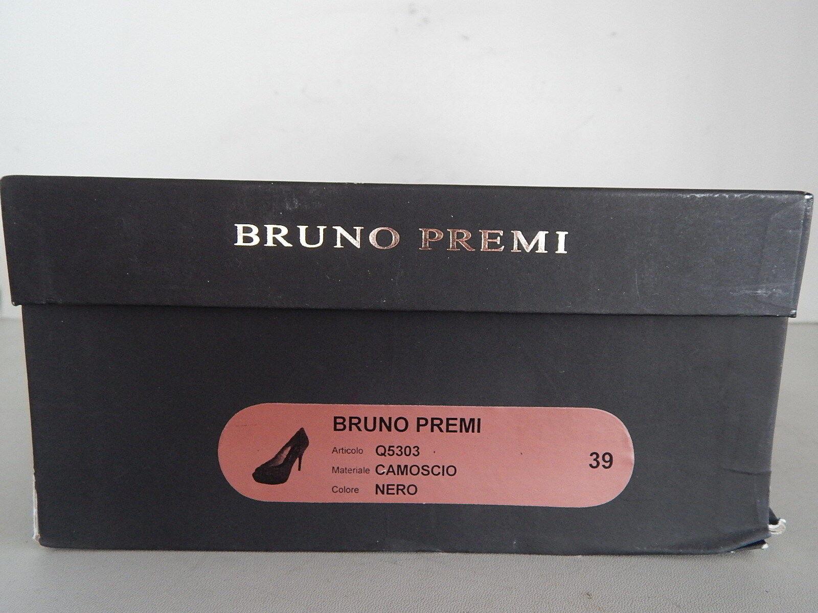 Bruno Premi Peeptoe High Heels Heels Heels Plateau Wildleder Schwarz  Gr. 39  mit OVP fee346