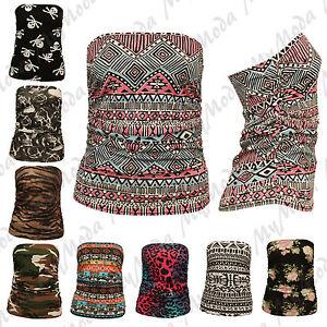 Ladies-Womens-Ruched-Bandeau-Aztec-Army-Animal-Boobtube-Vest-Crop-Top-Plus-8-22