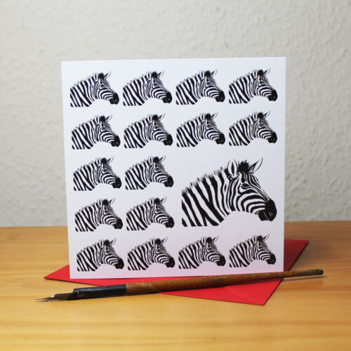 Zebra Blank Square Greetings Card matching envelope Safari Wild Animal