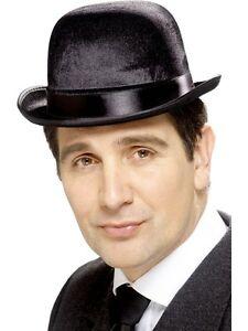 Mens Black Bowler Hat Velvet Wool Feel Derby Cap Son of a Man ... 3d31d9cfd04