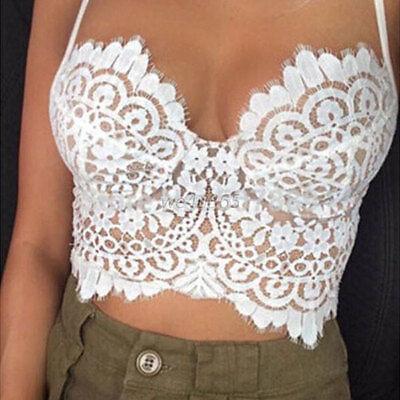 Women's Lace Floral Bralette Bralet Bra Bustier Crop Vest Cami Unpadded Tank LS