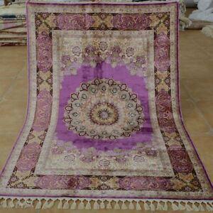 YILONG-4-3-039-x6-2-039-Handmade-Persian-Silk-Rug-Purple-Bedroom-Decor-Carpet-1707