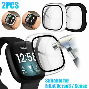 For Fitbit Versa3/Sense Watch Series Case Cover Tempered Glass Screen Protector