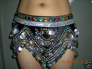 Coloured-SILVER-Coins-amp-Bead-Belly-Dance-Hip-Scarf-Dress-Belt-Skirt-Black