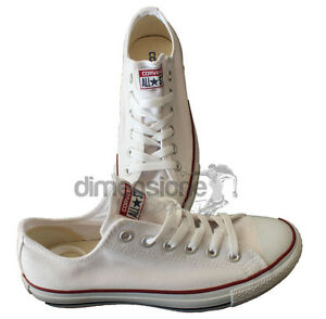 SCARPE TELA CONVERSE ALL STAR BIANCHE TG. 42 BASSE M7652 SHOES CANVAS BIANCO