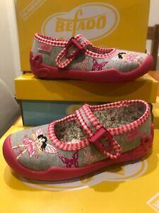 Befado-Girls-Grey-Jersey-rosa-Gingham-Mary-Jane-fata-motivo-Scarpa-Antiscivolo-sz25-8