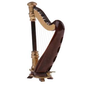 1-12-Scale-Dollhouse-Miniature-Vintage-Musical-Instrument-8-strings-Harp