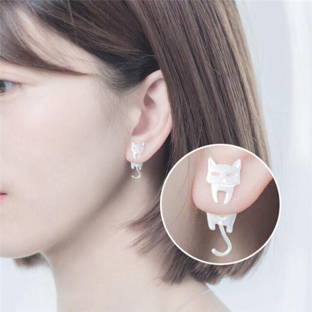 Asymmetric Silver Plated Earrings  Cat Fish Ear Stud Earrings Lady Jewelry PY