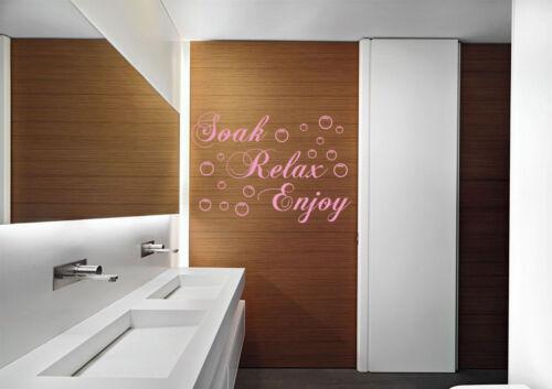 Hand Carving SOAK RELAX ENJOY QUOTE LIVING//BATH ROOM WALL ART STICKER UK RUI76
