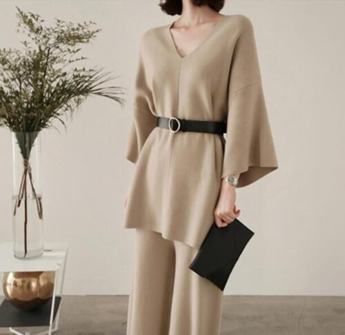 Sets Cashmere Sweater Suit Strikket Bælte Pants Cardigan 2pcs Leg Wide Uld Kvinders SvcTqzYUw