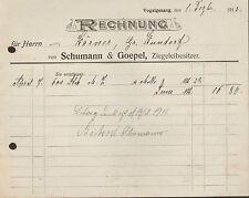 VOGELGESANG, Rechnung 1913, Ziegelei-Besitzer Schumann & Goepel