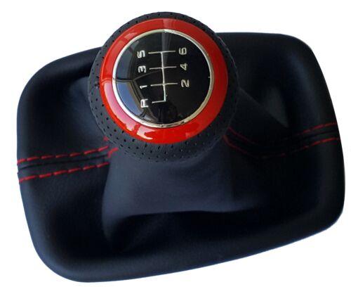 S/' adapte pour vw touran 6 vitesses cuir pommeau schaltsack cadre rouge type r01