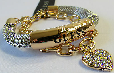 GUESS Jeans Rhinestones  Bangle  Bracelet Logo  Gold  Tone Charms NWT set of  2