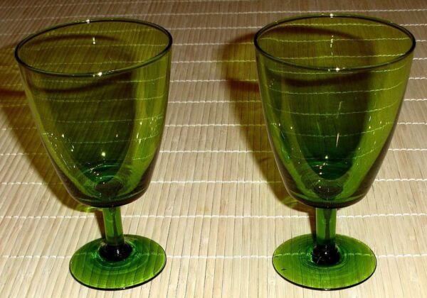 2x Grüne Weingläser Vintage, Alt - Ca. 50er 60er Jahre - Retroglas Einfach Zu Schmieren