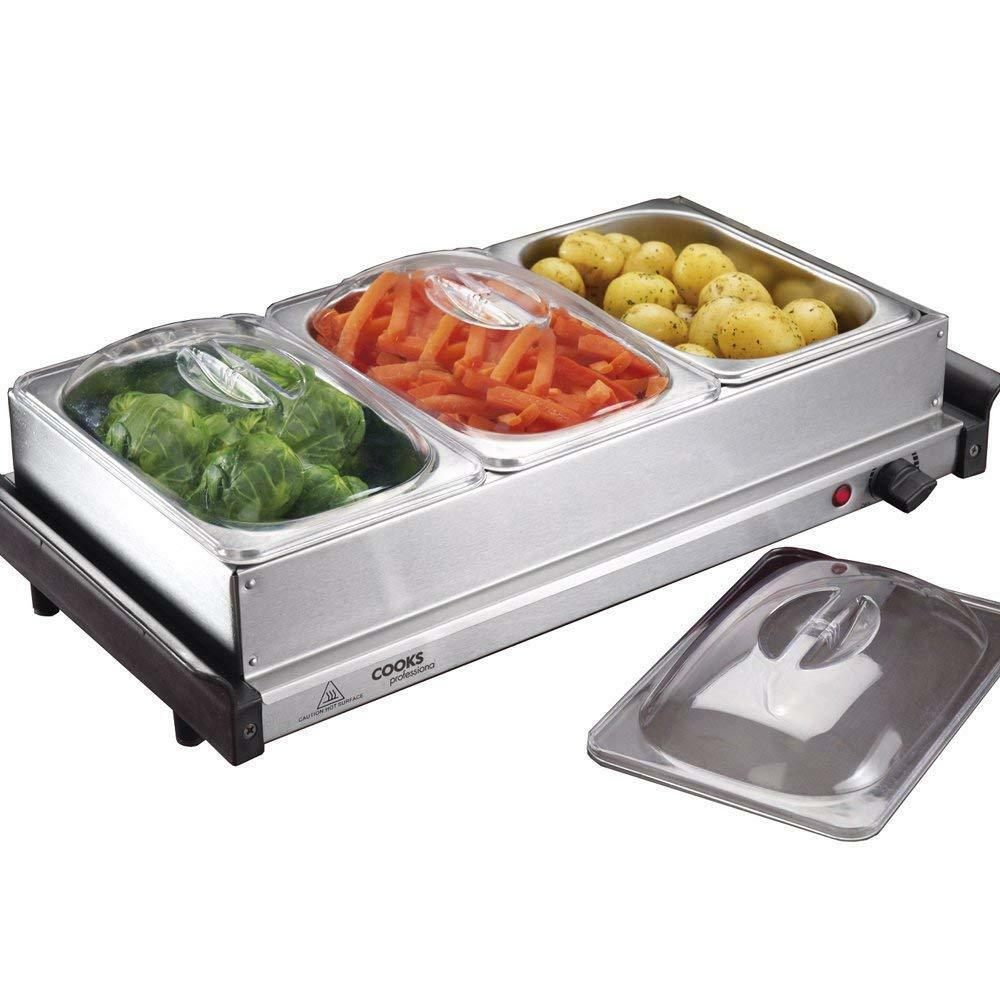 Electric Buffet Warmer Hotplate & Food Server, 3 x 1L Removable Sections Cooks