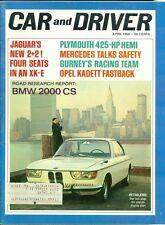 1966 Car & Driver Magazine: BMW 2000 CS/Jaguar 2+2 XK-E/Plymouth 425hp Hemi