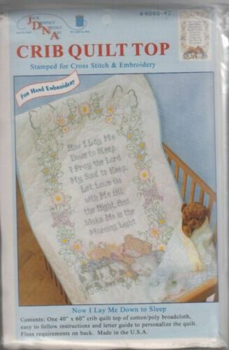 Jack Dempsey 4060-897 Stamped Quilt Crib Top 40 x 60 White Kiss Me Goodnight